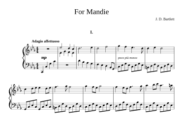 "Top of page 1 of ""For Mandie"" piano music"