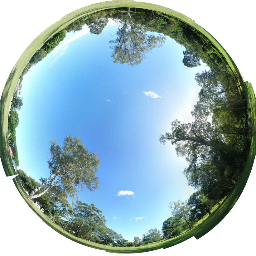 Fish-eye sky panorama stitched together using Hugin